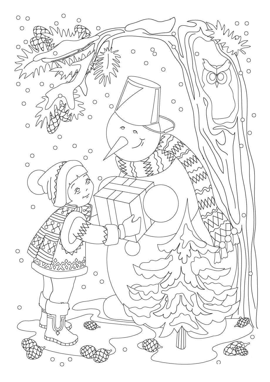 A Girl Gift Snowman a Present