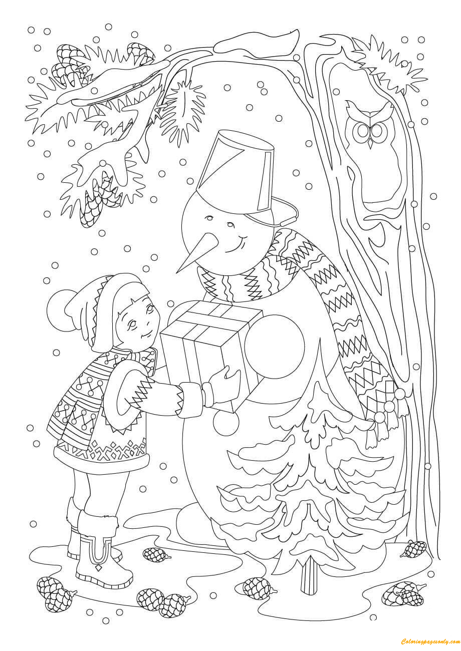 A Girl Gift Snowman A Present Coloring Page