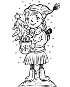 A Girl With A Christmas Tree Coloring Page