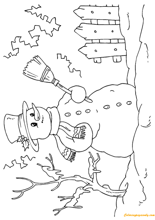 A Happy Snowman Coloring Page