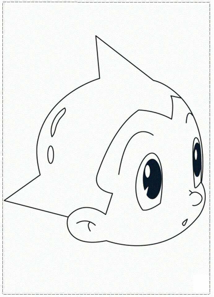 A head of Atom Astro Boy Coloring Page