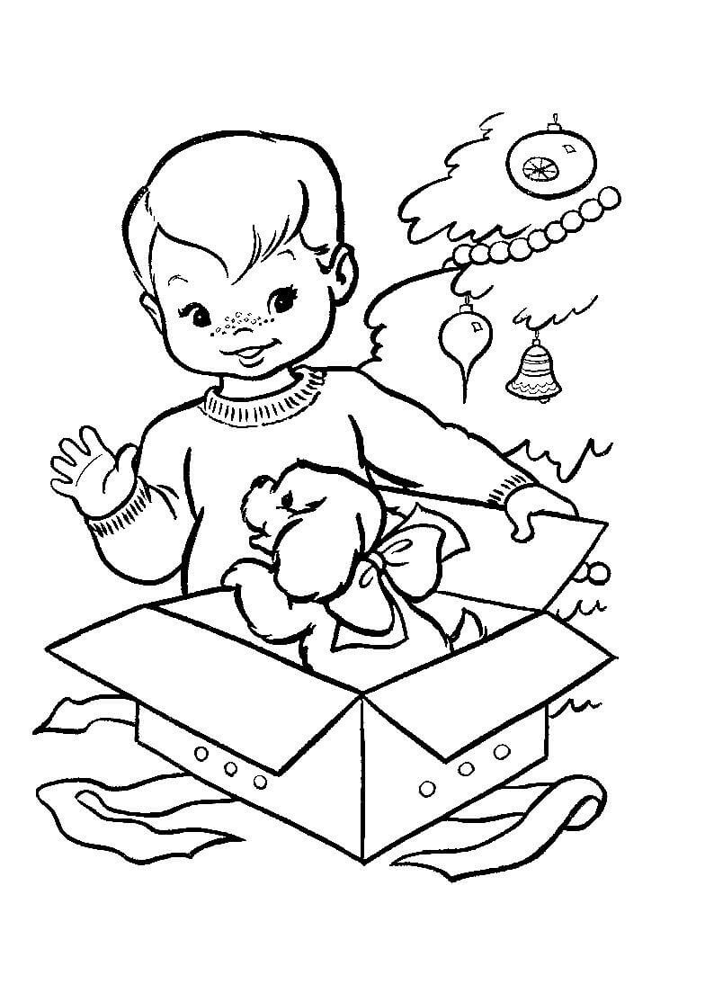 A Little Boy Opening The Gifts Coloring Page