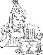 A Little Girl With Her Birthday Cake Coloring Page
