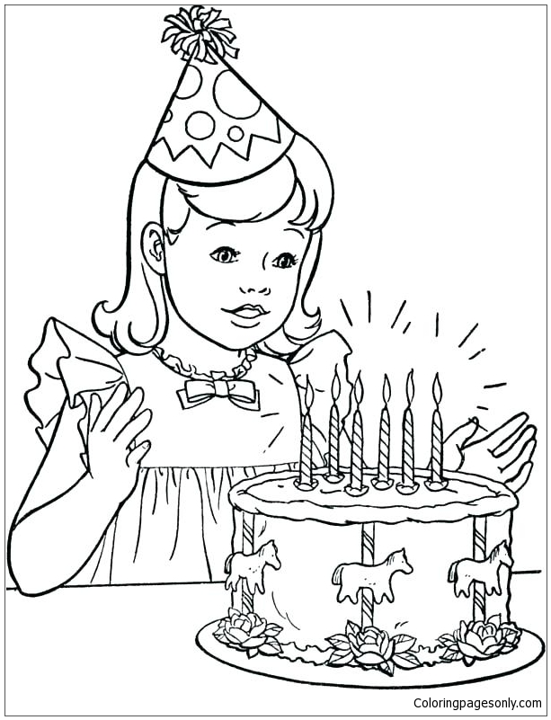 A Little Girl With Her Birthday Cake Coloring Pages - Happy Birthday Coloring  Pages - Free Printable Coloring Pages Online