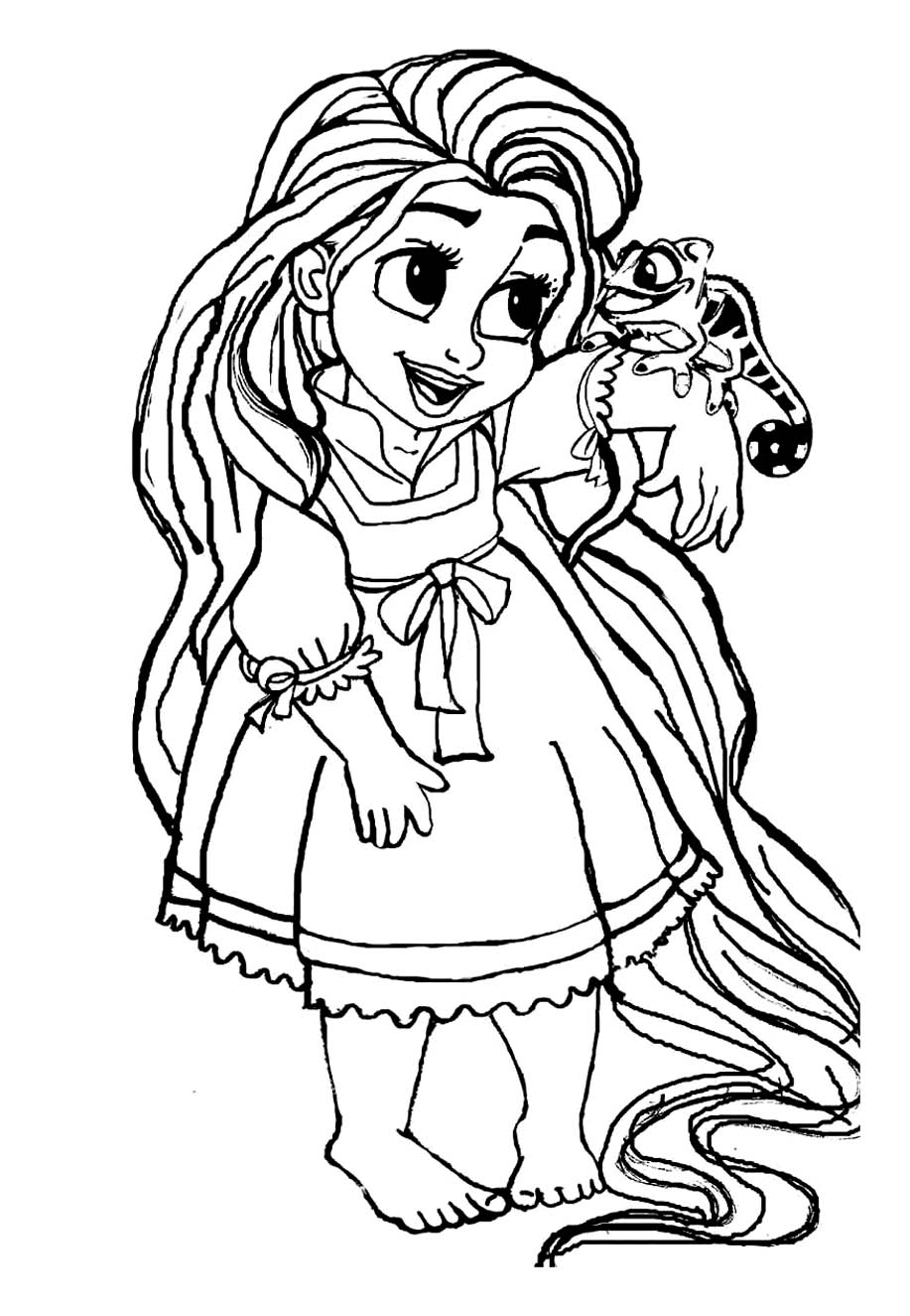 A Little Rapunzel Coloring Page