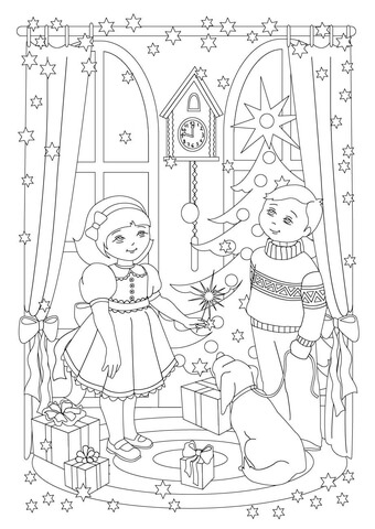 A Little Sister and Her Little Brother With Chrismas Air Coloring Page