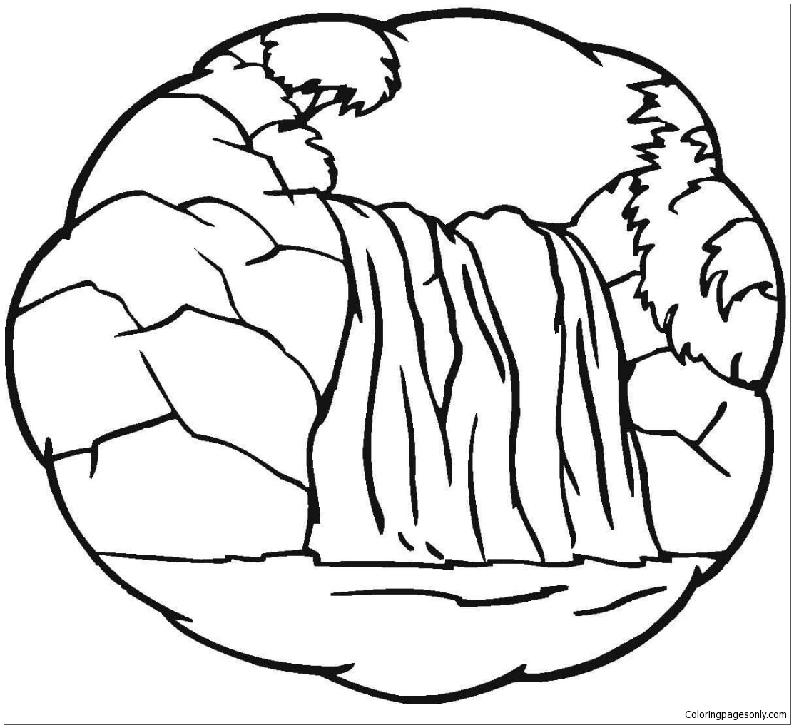 A Little Waterfall Coloring Page
