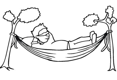 A man Is Resting In A Hammock