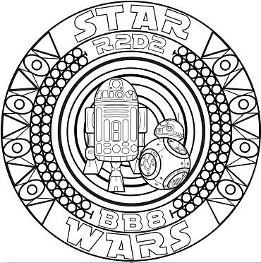 A mandala inspired by Star Wars with the robots BB8 and R2D2