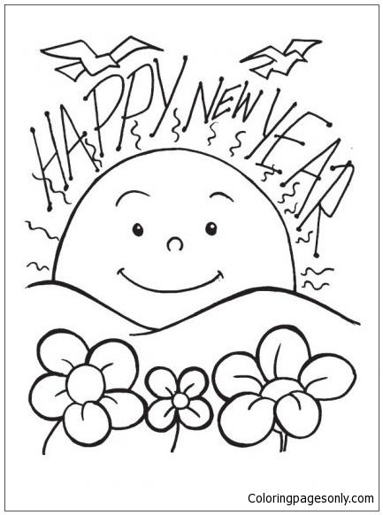 A New Dawn On The New Year Day Coloring Page
