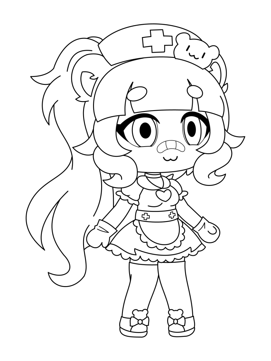 A nurse with bear hairclip Coloring Page