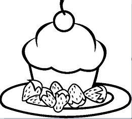 A Peace Of Strowberry Cake Yummy Coloring Page