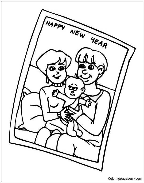 A Portrait Of Family Celebrating New Year Coloring Page