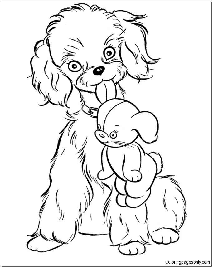 A Puppy And A Doll Coloring Page
