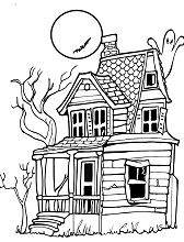 A rickety house with a ghost, full moon and bat