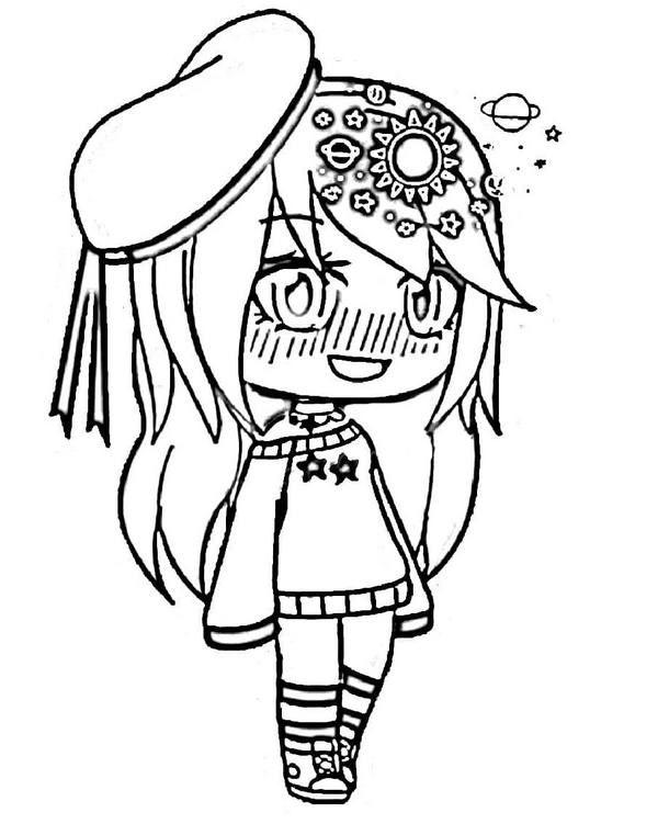 A Shy Carma with a baret and sun hairclip Coloring Page
