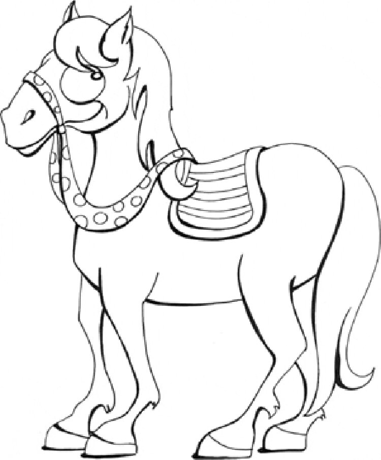 A Sly Barbie Horse Coloring Page