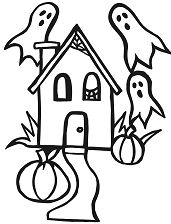 A small house with ghosts, spiderwebs and pumpkins