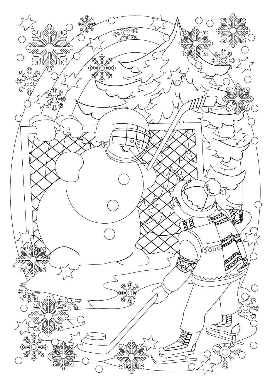 A Snowman and A Boy Play Hockey in Snowy