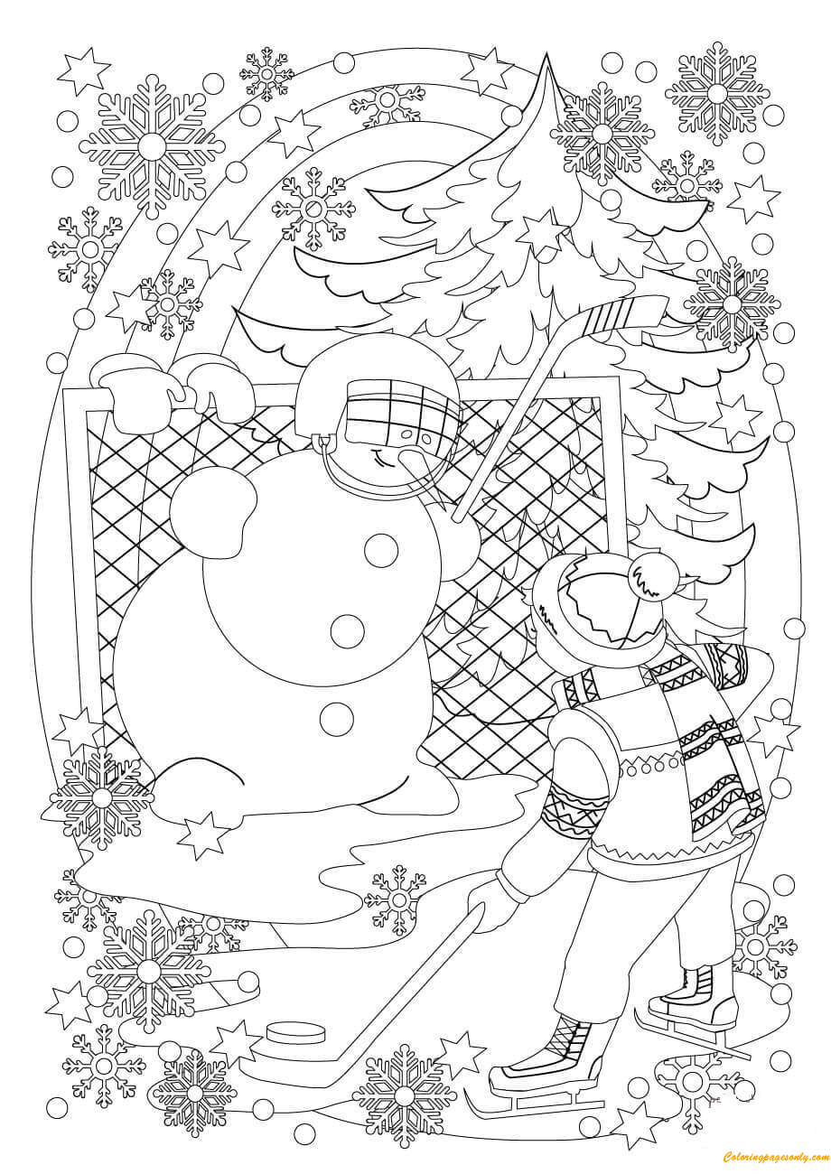 A Snowman And A Boy Play Hockey In Snowy Coloring Page