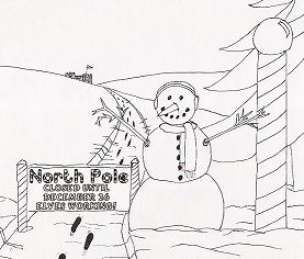 A snowman guards the North Pole Coloring Page