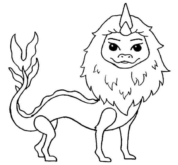 A thick mane of Sisu Dragon Coloring Page