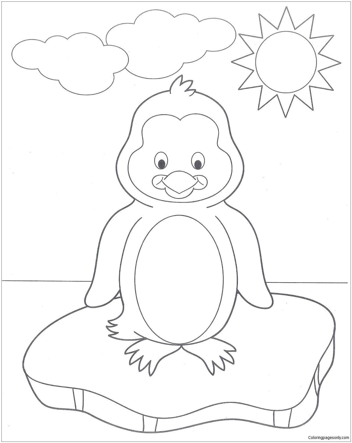 A Very Cute Baby Penguin In Winter Coloring Page - Free ...