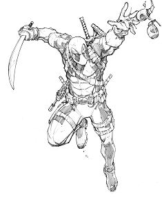 A warm up sketch of Deadpool Coloring Page