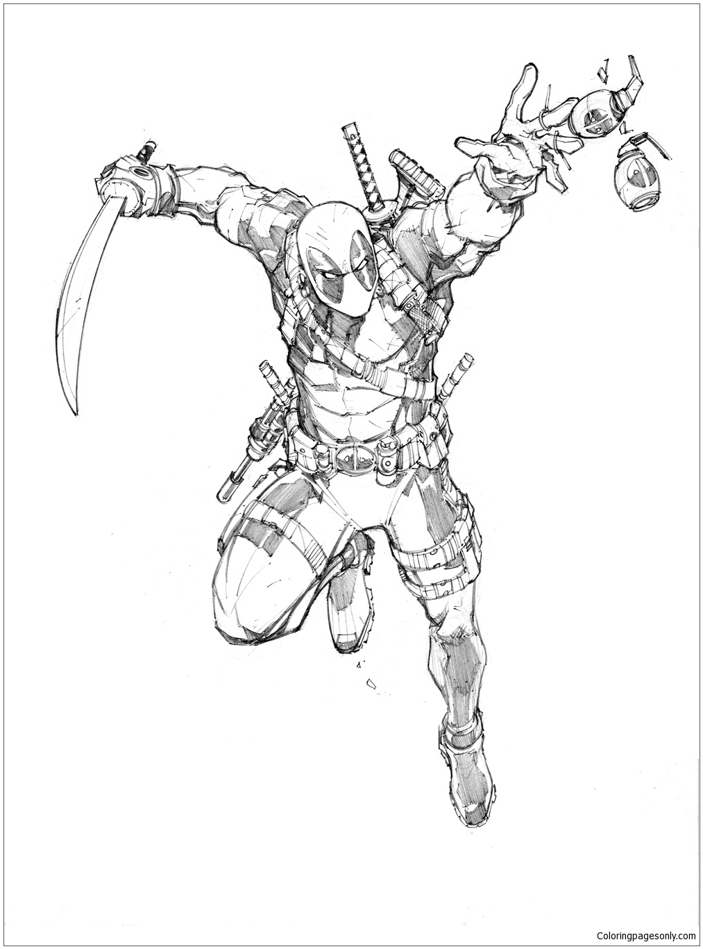 a warm up sketch of deadpool coloring pages  deadpool 2