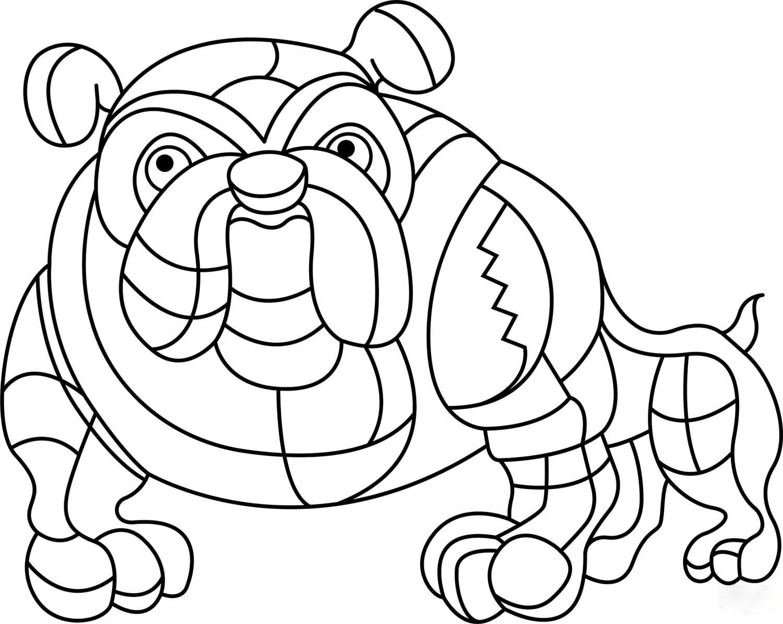 Abstract Bulldog Coloring Page