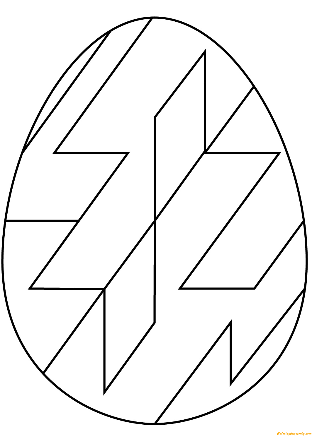 Abstract Geometric Pattern Easter Egg Coloring Page Free