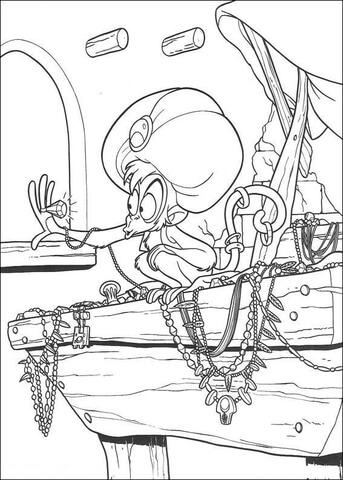Monkey Abu  from Aladdin Coloring Page