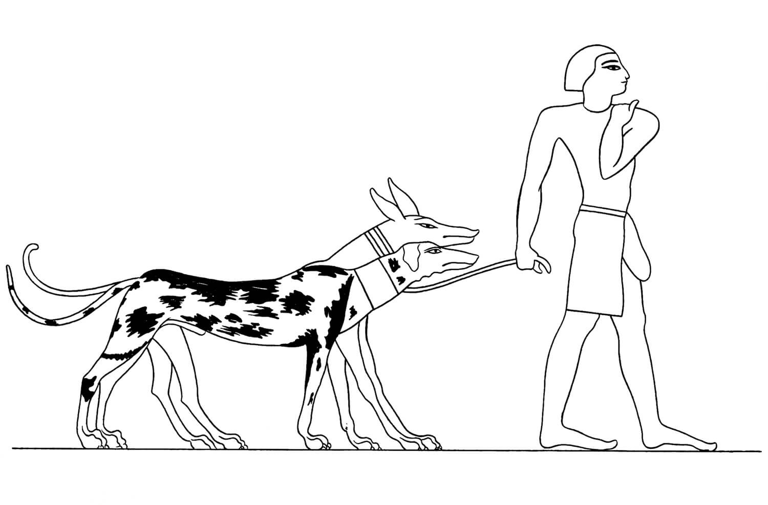 Acient Egyptian and Humans Coloring Page