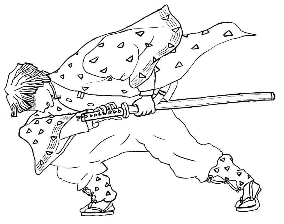 Action Zenitsu Coloring Page