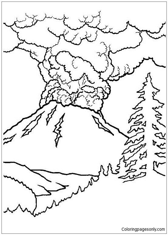 Active Volcano Coloring Page