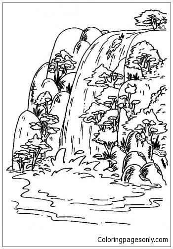 Adaberbagai Waterfall Coloring Page Free Coloring Pages