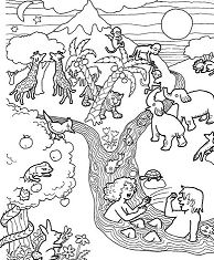 Adam and Eve in Eden Coloring Page