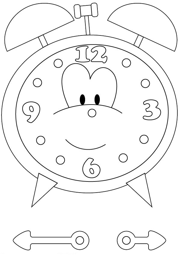 Adorable Clock Coloring Page