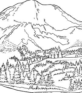 Africa Mountains Coloring Page