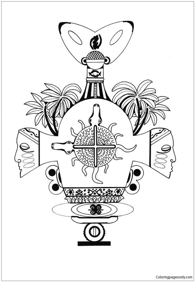 African Ashanti Mandala Coloring Page