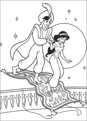 Prince Ali and Jasmine in the background of the moon from Aladdin Coloring Page
