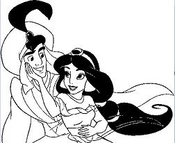 Aladdin and Jasmine Together Coloring Page