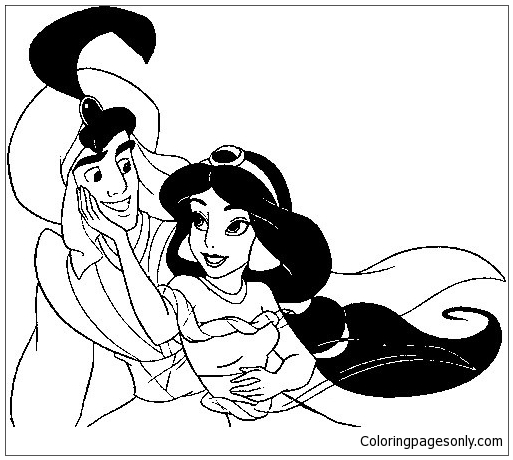 Aladdin and Jasmine Together Coloring Page - Free Coloring Pages Online