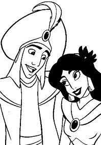 Aladdin and Jasmine Wedding Coloring Page