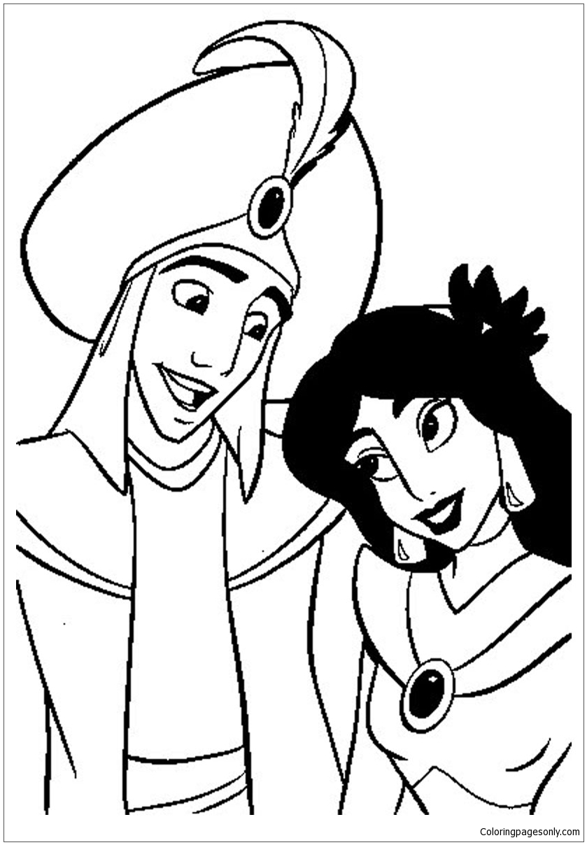 Aladdin and Jasmine Wedding Coloring Page - Free Coloring Pages Online