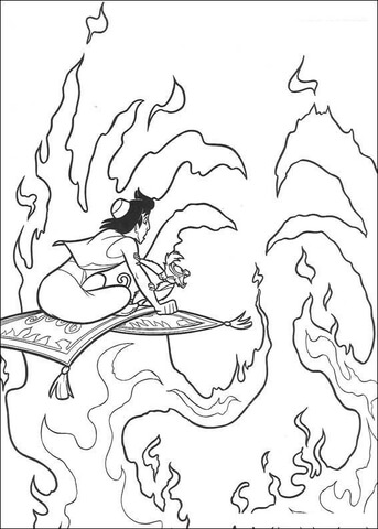 Aladdin is passing through the fire  from Aladdin Coloring Page