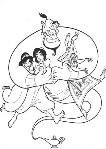 Aladdin, Jasmine, Abu and the Carpet  from Aladdin Coloring Page