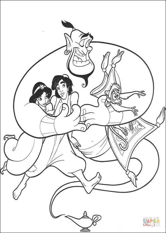 Aladdin Jasmine Abu and the Carpet from Aladdin Coloring Page