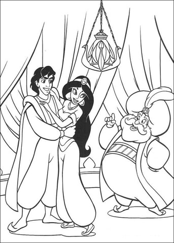 Aladdin, Jasmine and the Sultan  from Aladdin Coloring Page