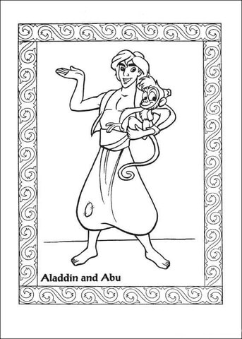 Aladin And Abu Coloring Page